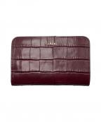 FURLA()の古着「クロコ型押しコンパクト財布」 レッド