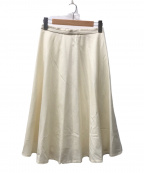 TOMORROW LAND(トゥモローランド)の古着「ウールフラノ サーキュラースカート」|ホワイト