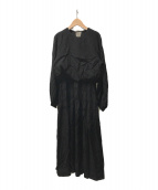 ()の古着「パフスリーブロングワンピース」|ブラック