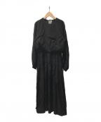 ROPE mademoiselle(ロペマドモアゼル)の古着「パフスリーブロングワンピース」|ブラック