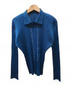 PLEATS PLEASE()の古着「プリーツ刺繍シャツ」|ブルー