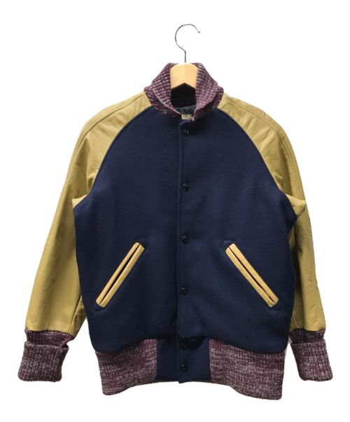 skookum×FREAK'S STORE(スクーカム×フリークストア)skookum×FREAK'S STORE (スクーカム×フリークストア) ニット切替ブルゾン/スタジャン/ファラオジャケット ネイビー サイズ:32の古着・服飾アイテム