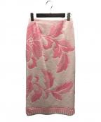 MM6 Maison Margiela(エムエムシックス メゾン マルジェラ)の古着「ビーチタオルスカート」 ピンク×ホワイト