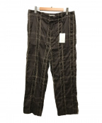 YOKE(ヨーク)の古着「ビッグプレイドワイドパジャマパンツ」 ブラウン