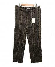 YOKE (ヨーク) ビッグプレイドワイドパジャマパンツ ブラウン サイズ:M