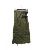 ()の古着「T/Cフェティーグシャツラップスカート」 オリーブ