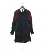 sacai(サカイ)の古着「ニットドッキングデザインモッズコート」|ネイビー