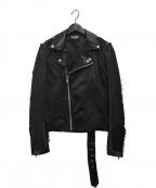 BLACK COMME des GARCONS(ブラックコムデギャルソン)の古着「チェッカーボードダブルライダースジャケット」|ブラック