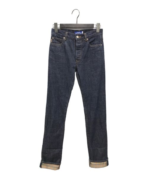 BURBERRY BLUE LABEL(バーバリーブルーレーベル)BURBERRY BLUE LABEL (バーバリーブルーレーベル) ノヴァチェックロールアップデニムパンツ インディゴ サイズ:36の古着・服飾アイテム