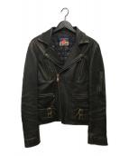 ()の古着「ヴィンテージ加工ダブルライダースジャケット」|ブラック