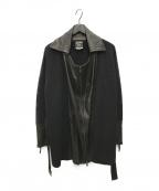 Jean Paul GAULTIER(ジャンポールゴルチエ)の古着「レザー切替ニットジャケット」|ブラック