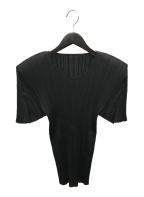 PLEATS PLEASE(プリーツプリーズ)の古着「S/Sプリーツブラウス」|ブラック