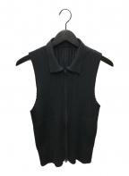 PLEATS PLEASE(プリーツプリーズ)の古着「プリーツジップベスト」|ブラック
