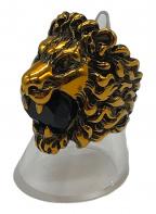 GUCCI(グッチ)の古着「クリスタル付き ライオンヘッド リング」|ゴールド
