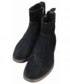 BOEMOS(ボエモス)の古着「スウェードサイドジップブーツ」 ブラック