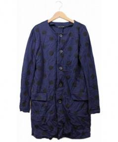 Y's YOHJI YAMAMOTO(ワイズ ヨウジヤマモト)の古着「縮絨ポリノーカラーコート」 ネイビー