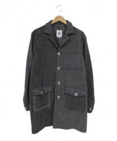 BEATITUDE(ビアティチュード)の古着「コンチョ釦切替織りコート」|グレー
