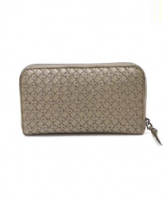 BOTTEGA VENETA(ボッテガベネタ)の古着「ラウンドファスナー財布」|グレー