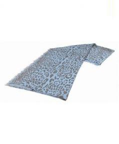 DOUCE GLOIRE(ドゥースグロワール)の古着「カシミヤレオパード大判ストール」|ブルー×ブラウン