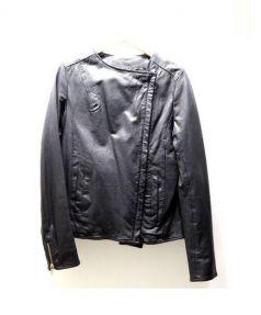BARK TANNAGE(バークタンネイジ)の古着「ゴートレザーダブルライダース」|ブラック