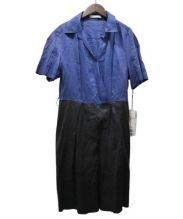 ADORE(アドーア)の古着「バイカラーリネンワンピース」|ネイビー×ブラック