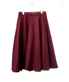 IENA(イエナ)の古着「ギャザーサーキュラースカート」|ボルドー