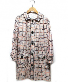 Sally Scott(サリースコット)の古着「刺繍コットンシングルコート」|ベージュ