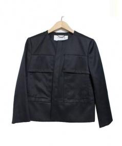 ADORE(アドーア)の古着「ノーカラーBIGポケットジャケット」|ブラック