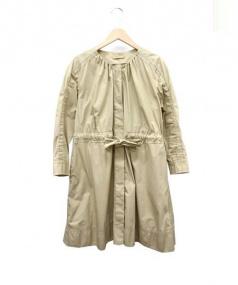 MACPHEE(マカフィー)の古着「ノーカラーライトワンピコート」|ベージュ
