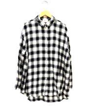 1er-Arrondissement(プルミエ アロンディスモン)の古着「7分袖チェックシャツ」|ブラック×ホワイト