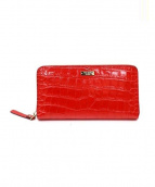 Kate Spade(ケイトスペード)の古着「ラウンドファスナー長財布」|レッド
