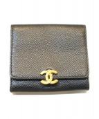 CHANEL(シャネル)の古着「Wホックコンパクト財布」|ブラック