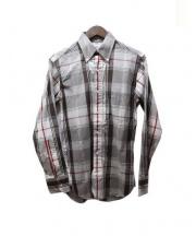 Black Fleece(ブラックフリース)の古着「BDチェックシャツ」|ブラウン×レッド