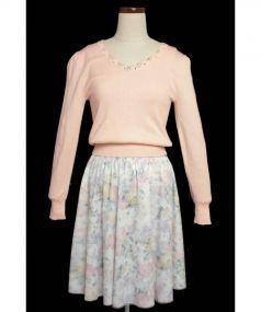 LAISSE PASSE(レッセパッセ)の古着「 ニット×チュールスカートセットアップ」|ピンク