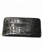 Aspinal Of London(アスピナルオブロンドン)の古着「型押しラウンドファスナー長財布」|ブラック