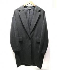 MACPHEE(マカフィー)の古着「リネンダブルクロスチェスターコート」|ブラック