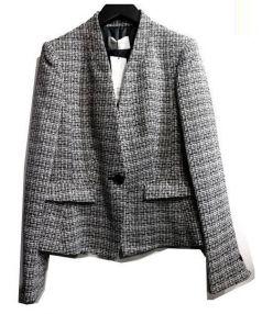 Pinky&Dianne(ピンキーアンドダイアン)の古着「ノーカラーツイードジャケット」|ブラック
