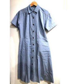 NEWYORKER(ニューヨーカー)の古着「メランジ半袖シャツワンピース」|ブルー