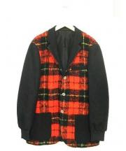 The FRANKLIN TAILORED(ザ・フランクリンティラード)の古着「タータンメルトンブレザージャケット」|レッド