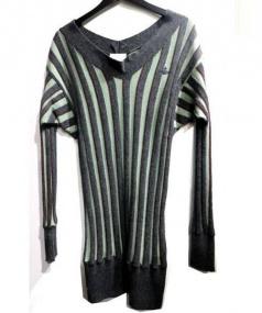 Vivienne Westwood(ヴィヴィアンウエストウッド)の古着「ストライプロングニット」|グレー×グリーン