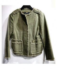 MACPHEE(マカフィー)の古着「コットンスラブフリンジジャケット」|オリーブ