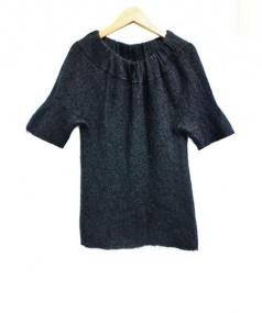 YOKO CHAN(ヨーコチャン)の古着「モヘヤ混オフショルダーニット」|ブラック