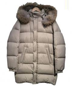 Gymphlex(ジムフレックス)の古着「ファーフードダウンコート」|ベージュ
