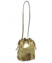 J&M DAVIDSON(ジェイ&エム デヴィッドソン)の古着「フリンジ巾着ショルダーバッグ」|ゴールド