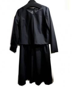 INDIVI(インディビ)の古着「ストライプ柄セットアップ風ワンピ」|ブラック