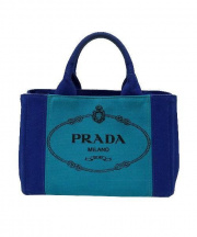 PRADA(プラダ)の古着「2WAYデニムバッグ」|ブルー×グリーン