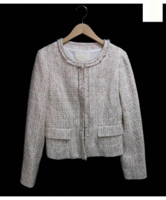 NATURAL BEAUTY(ナチュラルビューティー)の古着「ノーカラーツイードジャケット」|ベージュ