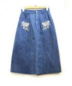 JILL BY JILLSTUART(ジルバイジルスチュアート)の古着「フラワー刺繍デニムスカート」|インディゴ