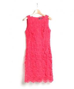 LAUREN RALPH LAUREN(ローレンラルフローレン)の古着「フラワーレースワンピース」|ピンク