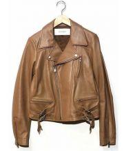 LE CIEL BLEU(ルシェルブルー)の古着「ラムレザーライダースジャケット」|キャメル
